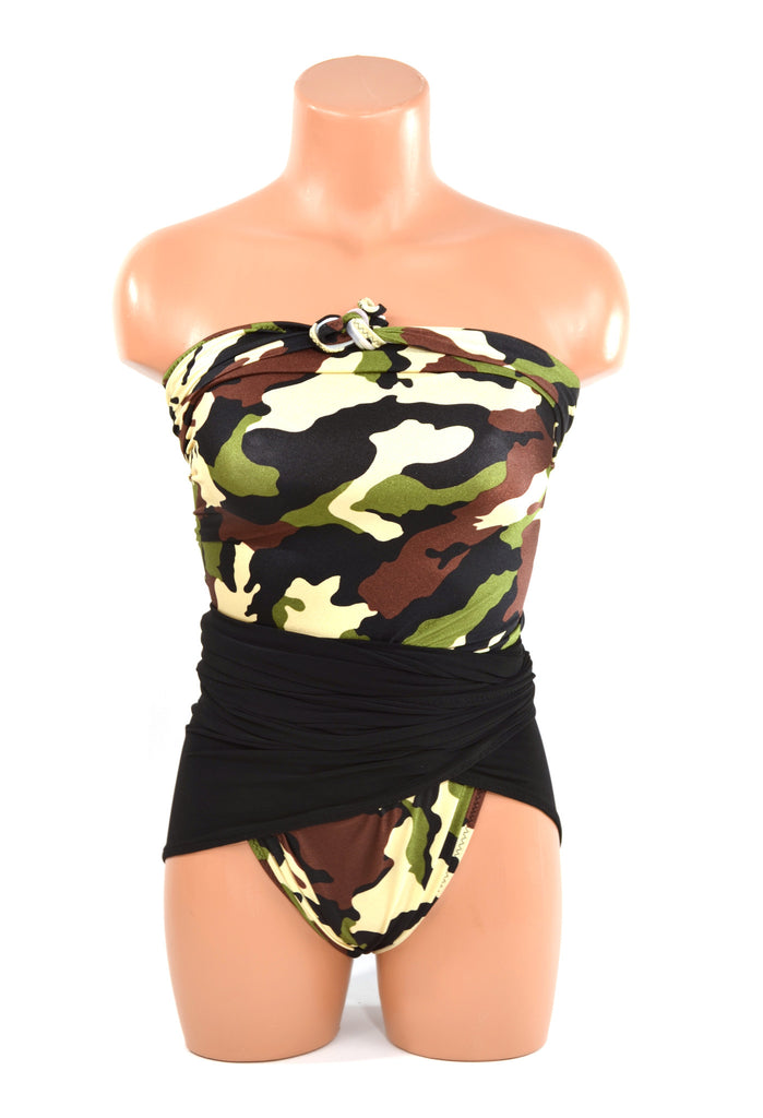 Medium Bathing Suit Wrap Around Swimsuit Camouflage w/ Classic Black Army Inspired Swimwear - hisOpal Swimwear - 1