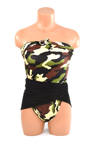 Medium Bathing Suit Wrap Around Swimsuit Camouflage w/ Classic Black Army Inspired Swimwear
