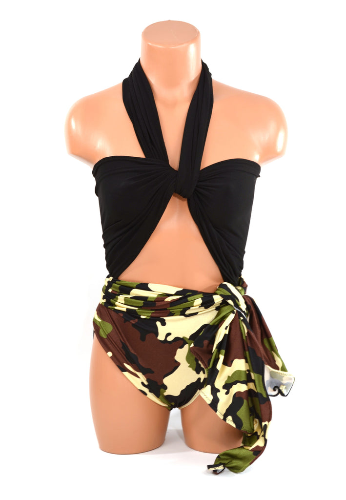 Large Bathing Suit Camouflage with Classic Black Wrap Around Swimsuit Military Hunting Theme Womens Teens and Maternity Swimwear - hisOpal Swimwear - 1
