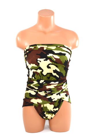 Medium Bathing Suit Camouflage Wrap Around Swimsuit Convertible Swimwear Hunting Military