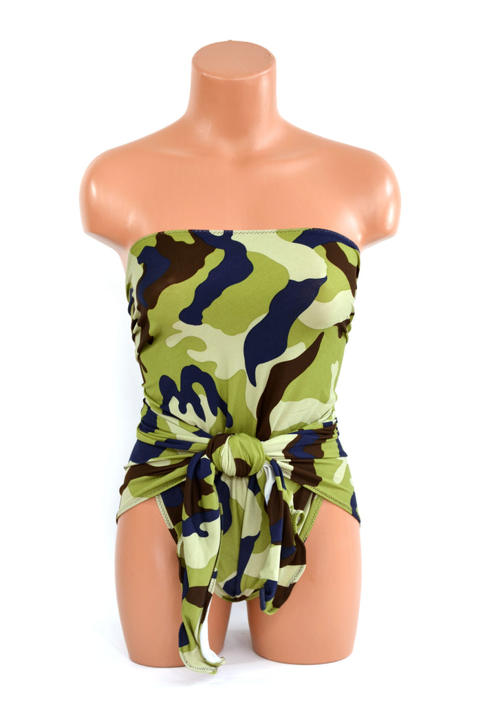 Small Bathing Suit Camouflage Print Wrap Around Swimsuit Petite Swimwear Girls Swimsuit One Piece - hisOpal Swimwear - 1