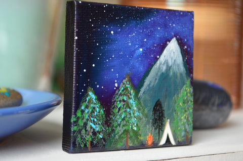 Original Art, Painted Mini Canvas, 2.5 x 2.5 inch, hisOpal Art, Camping Canvas, Unique Gift Idea