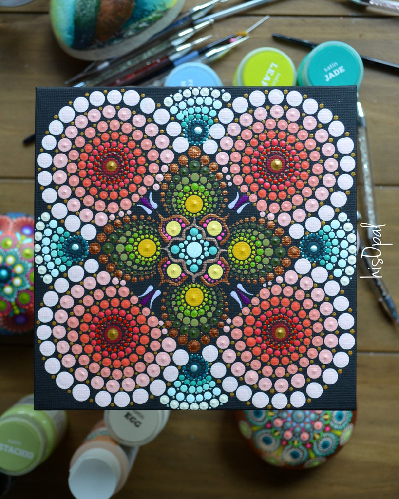 Original Painted Canvas Art, Mandala Art, Mandala Canvas 6x6 inch Thin Board