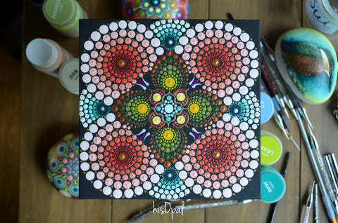 Original Painted Canvas Art, Mandala Art, Mandala Canvas 6x6 inch Thin Board, Shadowbox Framed