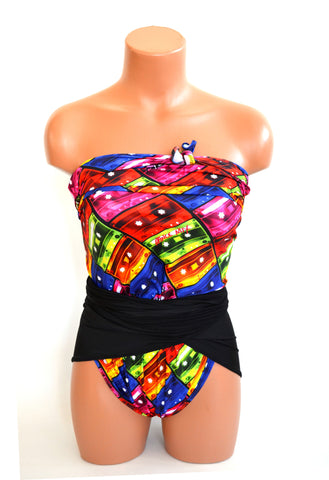 Medium Bathing Suit Mix Tape Print w/ Black Wrap Around Swimsuit Colorful 80's Retro Swimwear Red