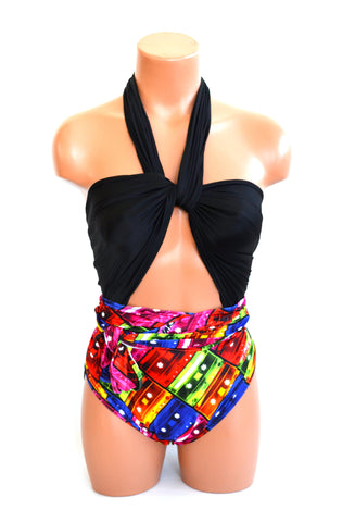 Large Bathing Suit Mix Tape Colorful Print with Black Wrap Around Swimsuit Rock N Roll Womens Teen