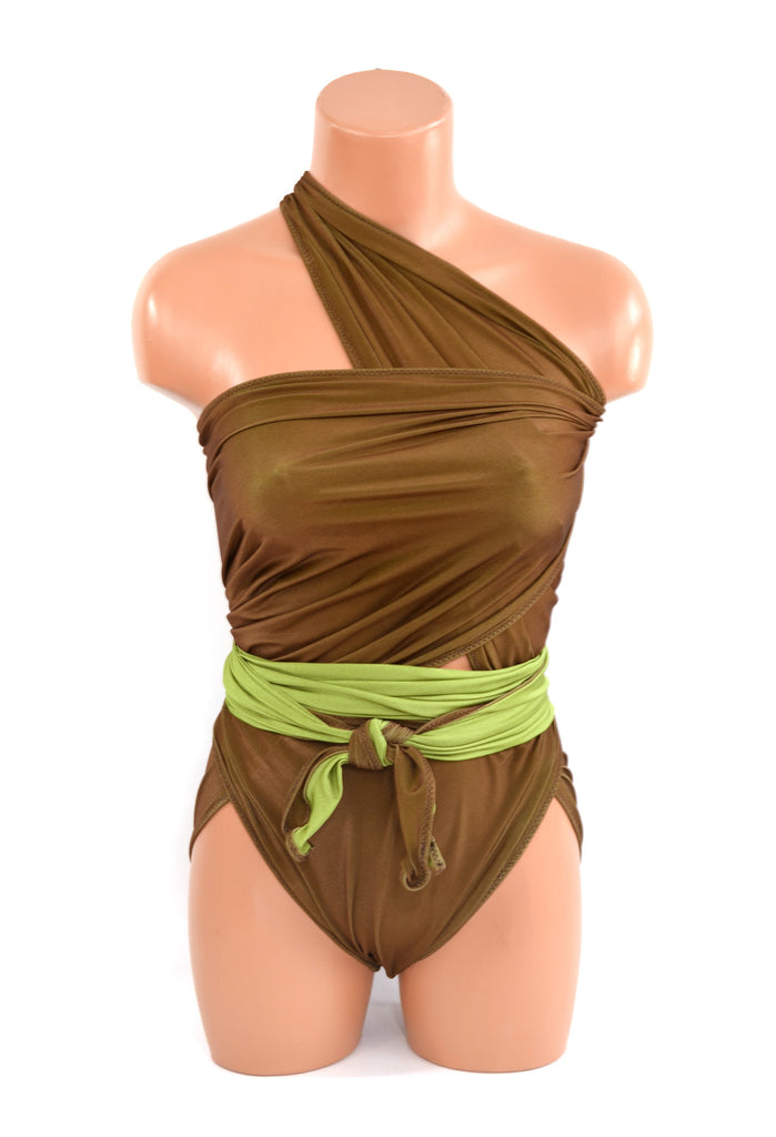 Large Reversible Wrap Around Swimsuit Andes Mints Chocolate Green Bathing Suit Womens Swimwear - hisOpal Swimwear - 1