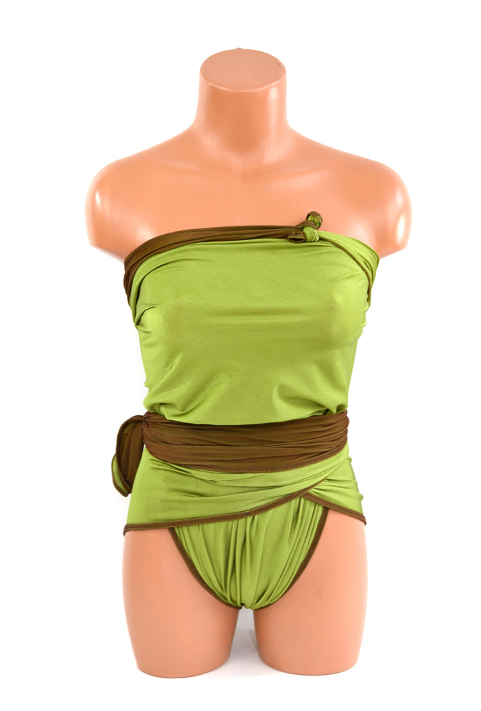 Medium Reversible Wrap Around Swimsuit Chocolate Brown and Lime Green Bathing Suit Swimwear - hisOpal Swimwear - 1