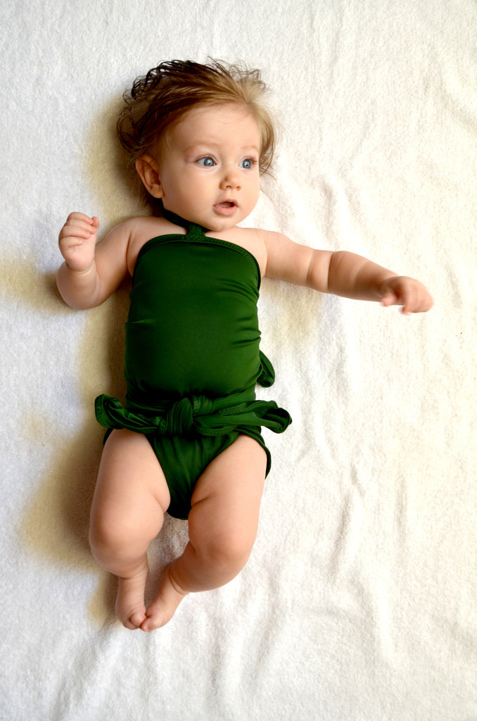 Baby Bathing Suit Hunter Green Wrap Around Swimsuit Toddler Girls Swimwear Handmade in the USA - hisOpal Swimwear - 1