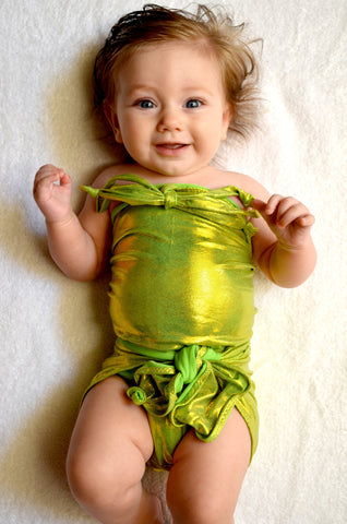 Baby Bathing Suit Metallic Lime Green Wrap Around Swimsuit Newborn Toddler Girls Swimwear