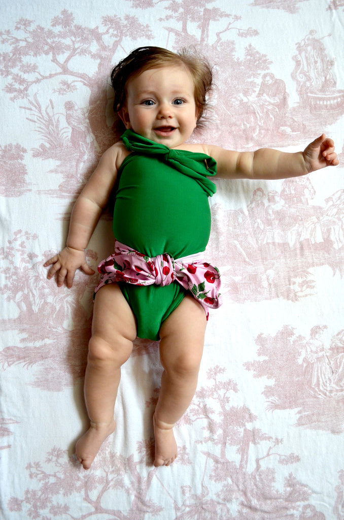 Baby Bathing Suit Cherries Print with Kelly Green Wrap Around Swimsuit Tie On Swimwear - hisOpal Swimwear - 1