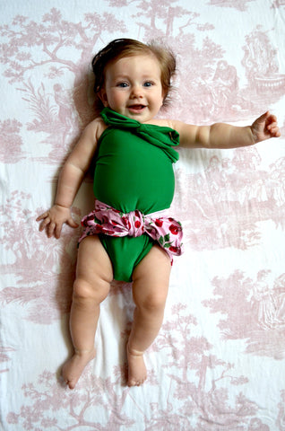 Baby Bathing Suit Cherries Print with Kelly Green Wrap Around Swimsuit Tie On Swimwear