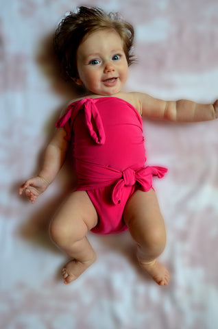 Baby Bathing Suit Solid Pink Swimsuit Wrap Around Baby Girls Infant Swimwear
