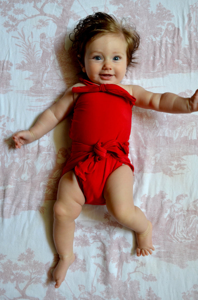 Baby Bathing Suit Solid True Red Wrap Around Swimsuit Toddler Infant Girls Tie On Swimwear - hisOpal Swimwear - 1