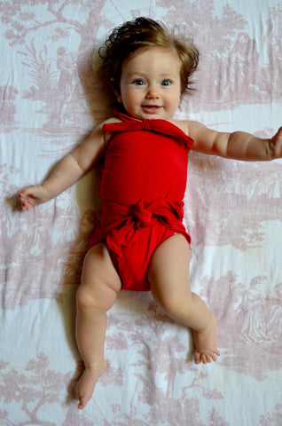 Baby Bathing Suit Solid True Red Wrap Around Swimsuit Toddler Infant Girls Tie On Swimwear