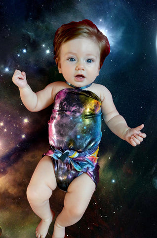 Baby Bathing Suit Metallic Galaxy Print Wrap Around Swimsuit Toddler Girls Swimwear