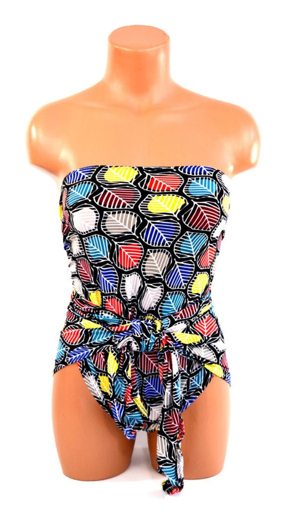Small Bathing Suit Wrap Around Swimsuit Colorful Leaves Print With Red, Blue and Yellow Petite Swim - hisOpal Swimwear - 1