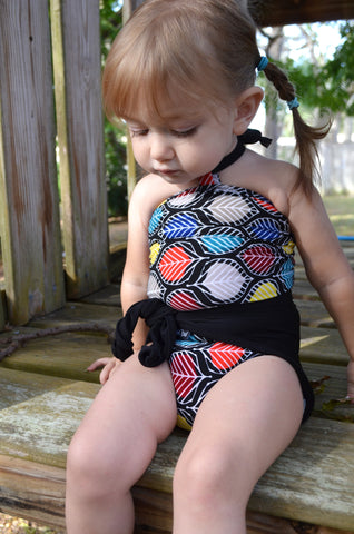 Baby Bathing Suit Colorful Leaf Print w/ Black Wrap Around Swimsuit Toddler Swimwear Newborn