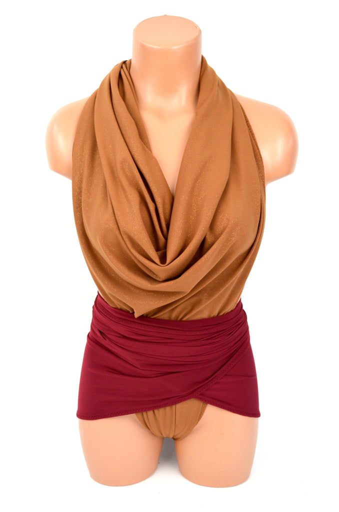 One Wrap Bathing Suit Large Swimsuit Gold Flecked Copper w/ Burgundy Cowl Neck Swimsuit - hisOpal Swimwear - 1