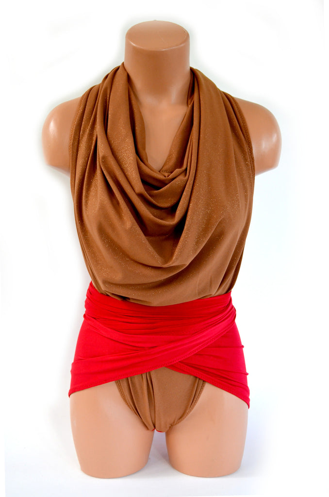 Large Bathing Suit Wrap Around Swimsuit Gold Flecked Copper with True Red Swimwear One Wrap - hisOpal Swimwear - 1