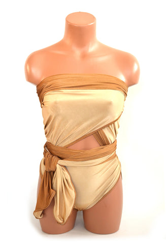 Large Reversible Wrap-around Swimsuit Copper and Nude Bathing Suit Plus Size Womens Swimwear