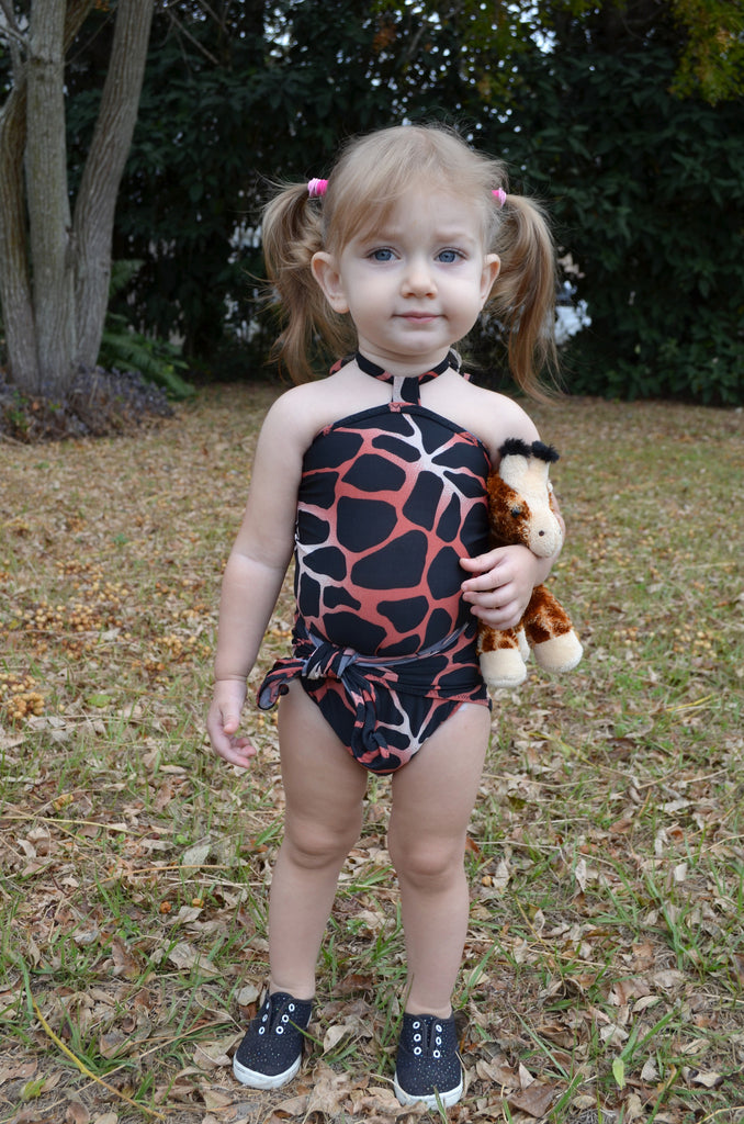 Baby Bathing Suit Coral Giraffe Print Animal Print Wrap Around Swimsuit Newborn Girls - hisOpal Swimwear - 1