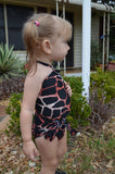 Baby Bathing Suit Coral Giraffe Print Animal Print Wrap Around Swimsuit Newborn Girls - hisOpal Swimwear - 4