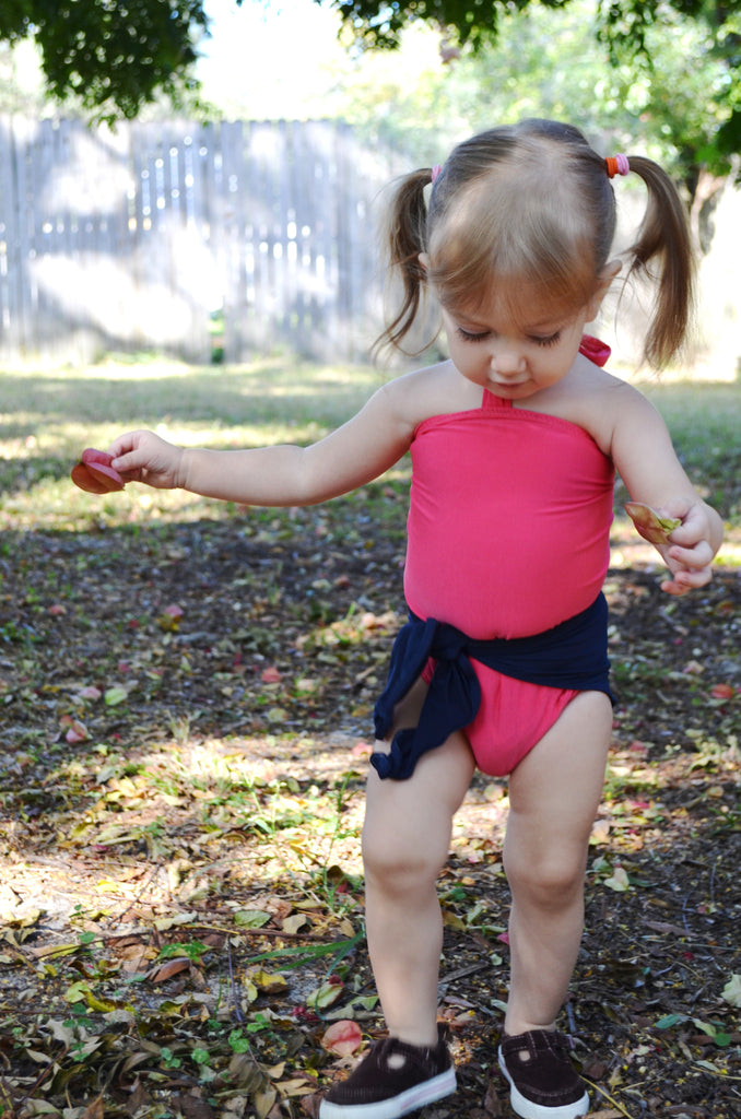 Baby Bathing Suit Coral and Navy Blue Wrap Around Swimsuit Toddler Girls Swimwear Infant Newborn - hisOpal Swimwear - 1