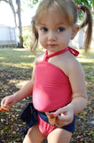 Baby Bathing Suit Coral and Navy Blue Wrap Around Swimsuit Toddler Girls Swimwear Infant Newborn - hisOpal Swimwear - 2