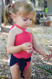 Baby Bathing Suit Coral and Navy Blue Wrap Around Swimsuit Toddler Girls Swimwear Infant Newborn - hisOpal Swimwear - 3