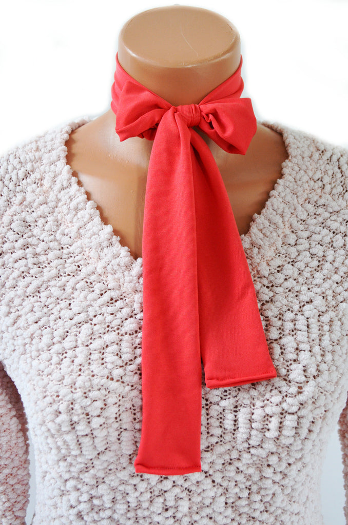 Neck tie Dark Coral Lightweight Scarf, Orange Sash Belt, Neck Bow Peach, Ascot Tie, Hair Tie - hisOpal Swimwear - 1