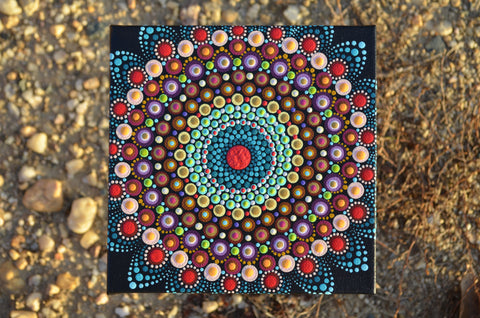 Original Painted Canvas Art, Mandala Art, Desert Sun, hisOpal Art, Mandala Canvas 6x6