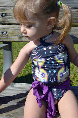 Baby Bathing Suit Light Purple and Fishbone Wrap Around Swimsuit Baby Girls Swimwear