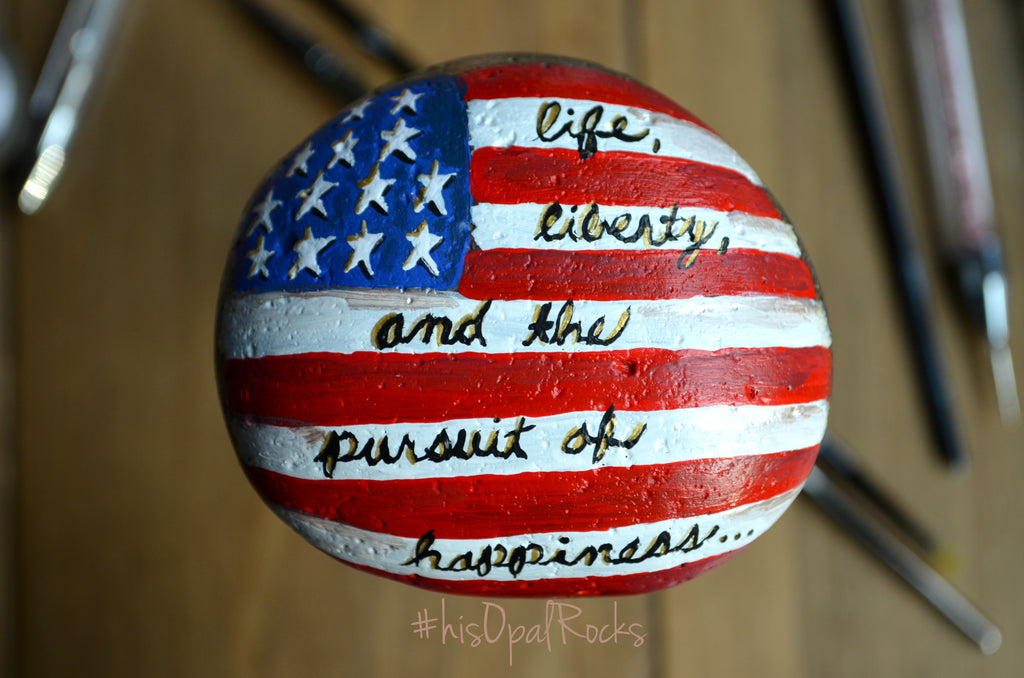 American Flag Art, Hand Painted Stone, Painted Rock, USA Art, Patriotic Art, USA Flag