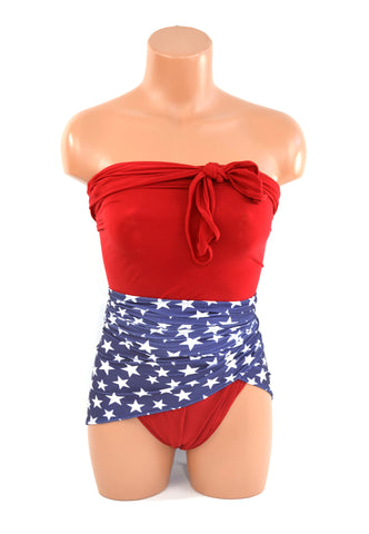 Large Bathing Suit Americana Wrap Around Swimsuit USA Red and Blue with White Stars