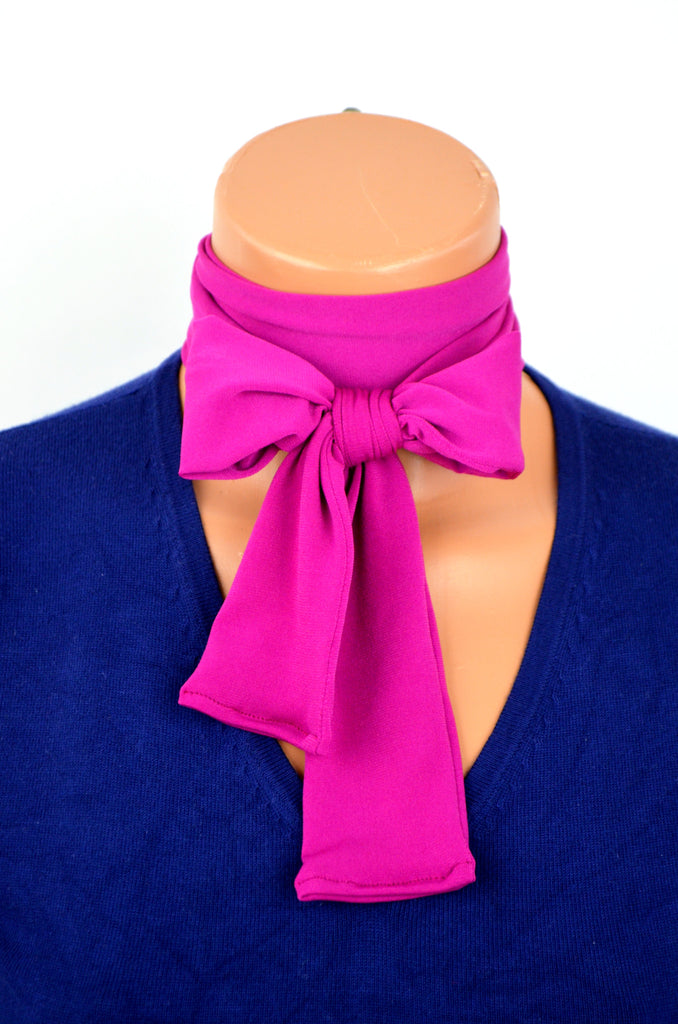 Fuchsia Scarf Neck Tie Lightweight Layering Fashion Dark Pink Neck Bow Head Wrap Cravat Ascot - hisOpal Swimwear - 1