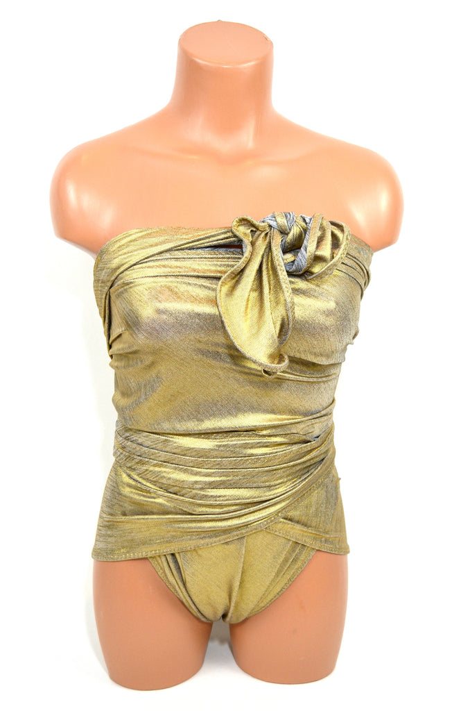 Reversible Large Bathing Suit Swimsuit Metallic Gold w/ Silver Grey