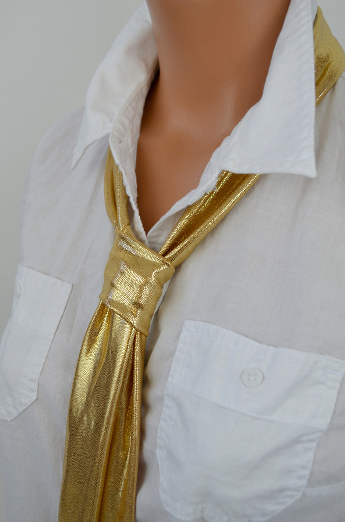 Metallic Gold Scarf Neck Tie Lightweight Neck Bow Womens Ascot Gold Cravat Unisex - hisOpal Swimwear - 1