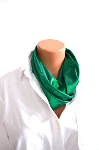 Metallic Green Infinity Scarf Lightweight Layering Fashion Piece Womens and Teens Holiday Ascot