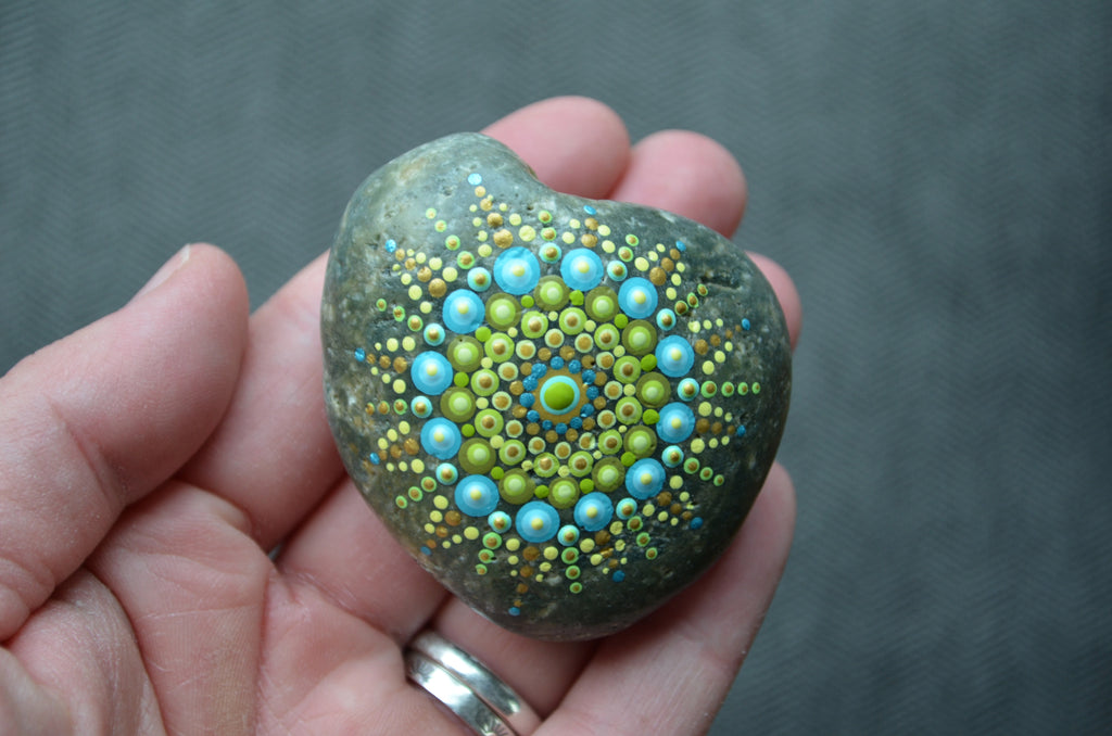 Painted Rock Green, Mandala Stone, Heart Shaped Rock, Hand Painted Rock Art, Gratitude