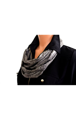 Long Infinity Scarf Metallic Grey Snakeskin Print Women's Ascot Neck Warmer