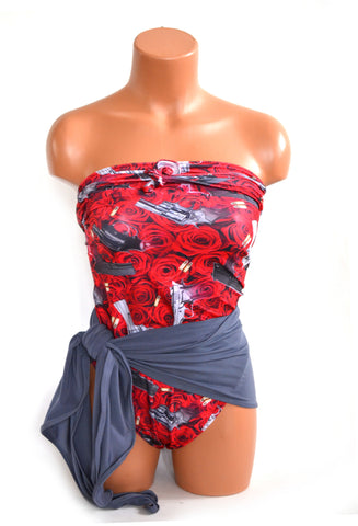 Medium Bathing Suit Guns and Red Roses w/ Light Grey Wrap Around Swimsuit Rock N Roll Swimwear