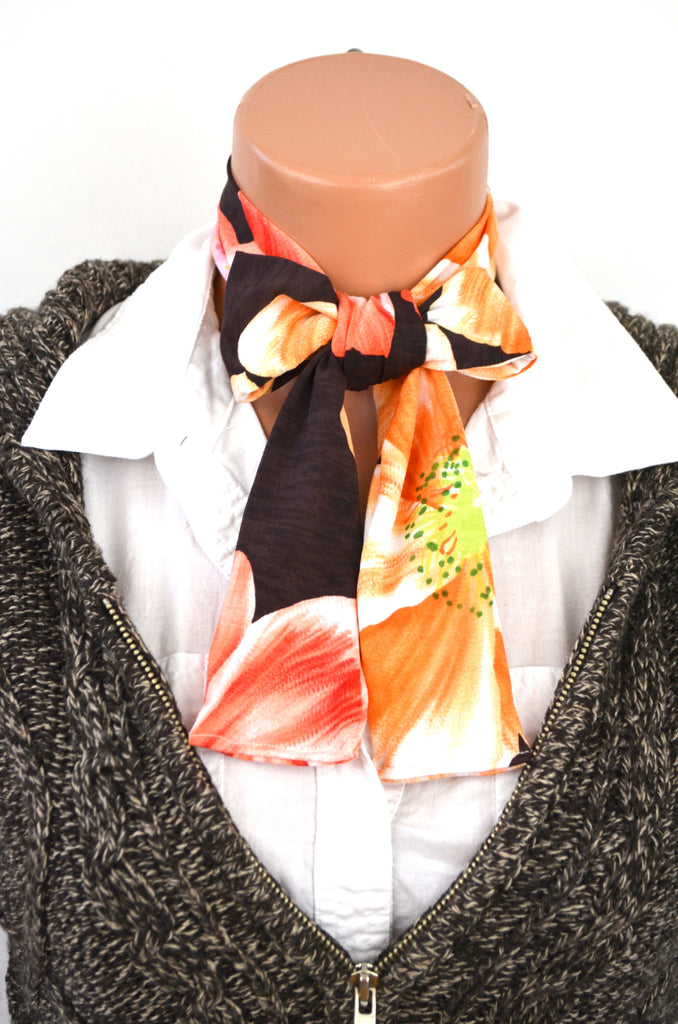 Womens Neck tie Hibiscus Floral Print Neck Scarf Lightweight Scarf Head Wrap Ascot Tie Peach Orange - hisOpal Swimwear - 1