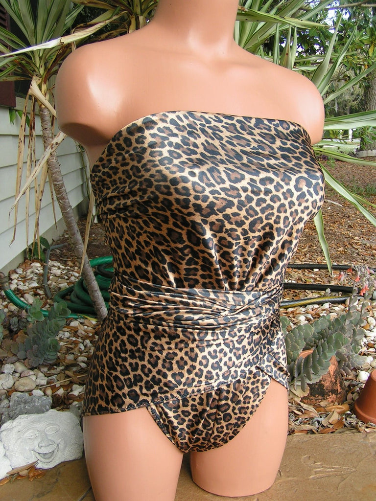 Medium Bathing Suit Shiny Leopard Animal Print Wrap Around Swimsuit High Fashion Swimwear - hisOpal Swimwear - 1
