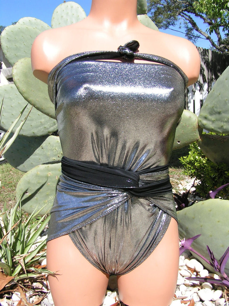 Medium Bathing Suit Metallic Silver on Black Wrap Around Swimsuit Convertible Evening Swimwear - hisOpal Swimwear - 1