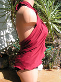 Sarong Cover Up Burgundy Wine Extra Large Womens and Teen Pool and Beach Tie On Skirt or Shirt - hisOpal Swimwear - 4
