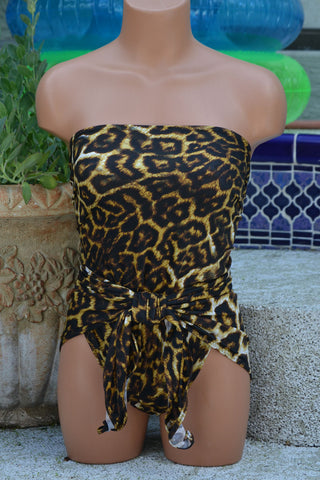 Small Bathing Suit Leopard Print Wrap Around Swimsuit Animal Print Swimsuit for Women and Teens