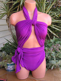 Large Bathing Suit Light Purple Wrap Around Swimsuit Womens and Teens Unique Swimwear hisOpal - hisOpal Swimwear - 4