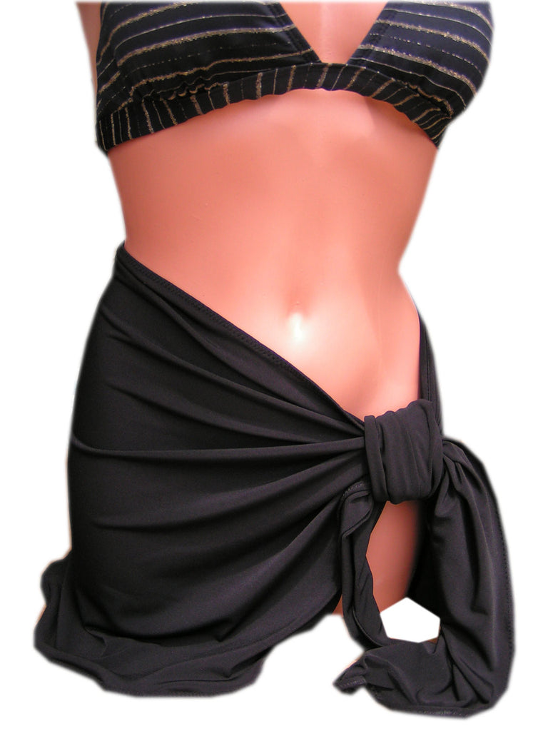 Sarong Cover Up Classic Black Beach or Pool Tie On Shirt Wrap Around Skirt Swimsuit Cover Up - hisOpal Swimwear - 1