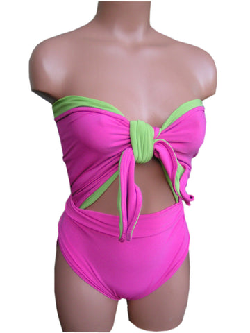 Small Bathing Suit Pink Lined with Pear Green Wrap Around Swimsuit Petite Swimwear hisOpal